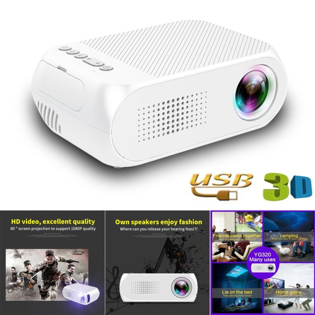 Quartly YG320 Mini LED Home Theater Cinema projector TV Portable Mini Projector 1080P HDMI/USB/SD/AV (white)