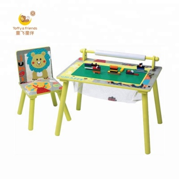 Wooden Kids Lego Play Table Chair Set With Storage Paper Roll For
