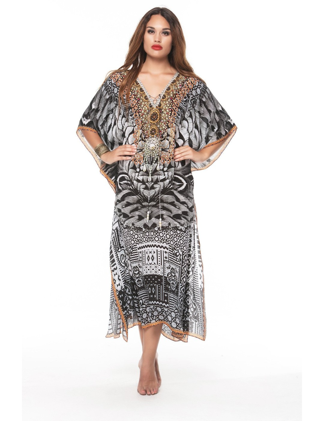 Zwarte veren medium kaftan
