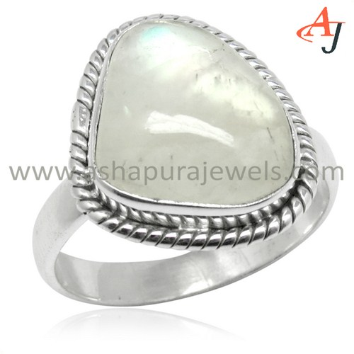 Handmade Rainbow Moonstone Gemstone 925 Sterling Silver Fancy Ring, Indian 925 Silver Jewelry, Unique Silver Jewelry