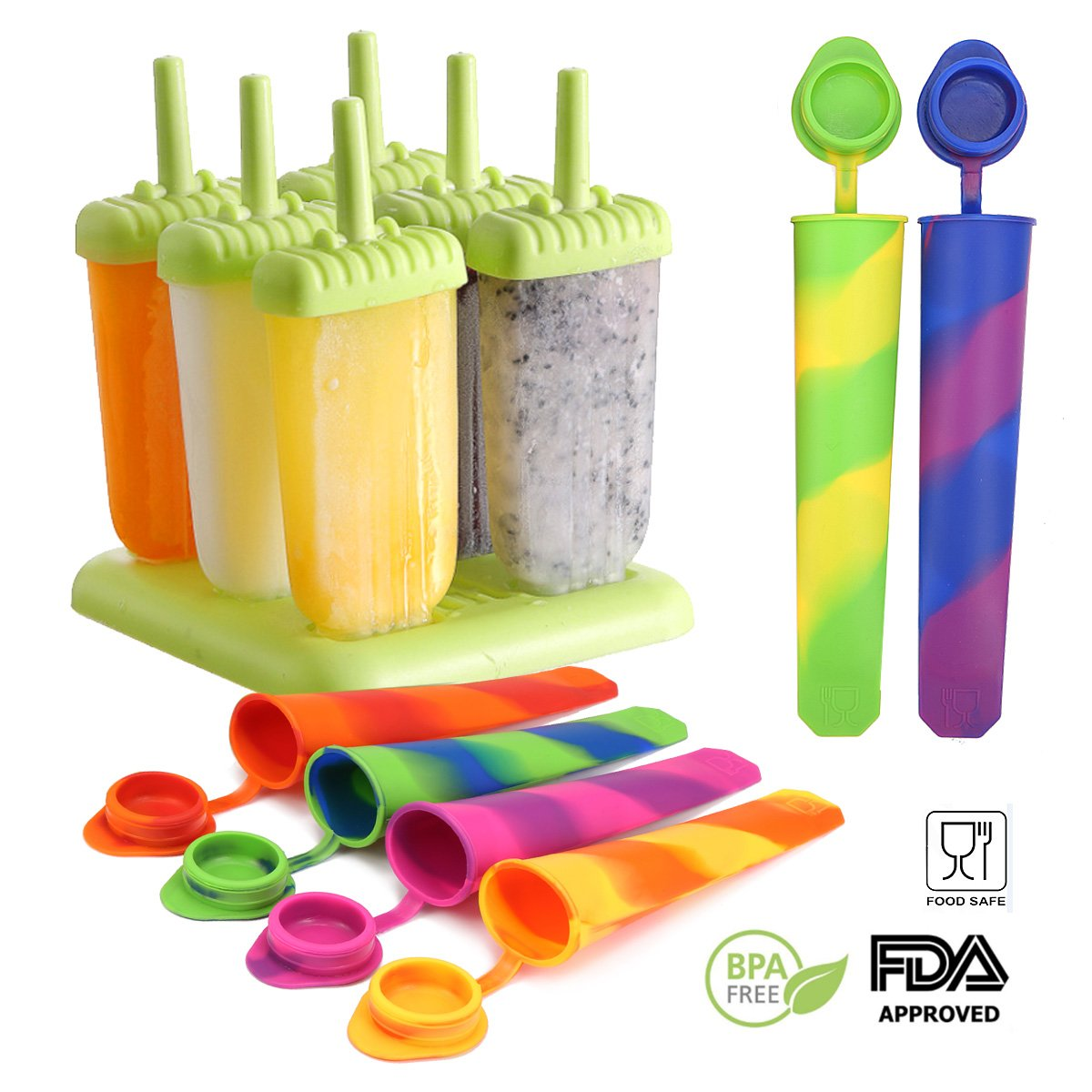 Skymore Popsicle Molds Set-Includes Set of 6 Reusable Popsicle Molds and Set of Silicone Ice Pop Maker Molds, BPA Free DIY Frozen Ice Pop Maker, Great Gift Kit for Yogurt or Freeze Pops