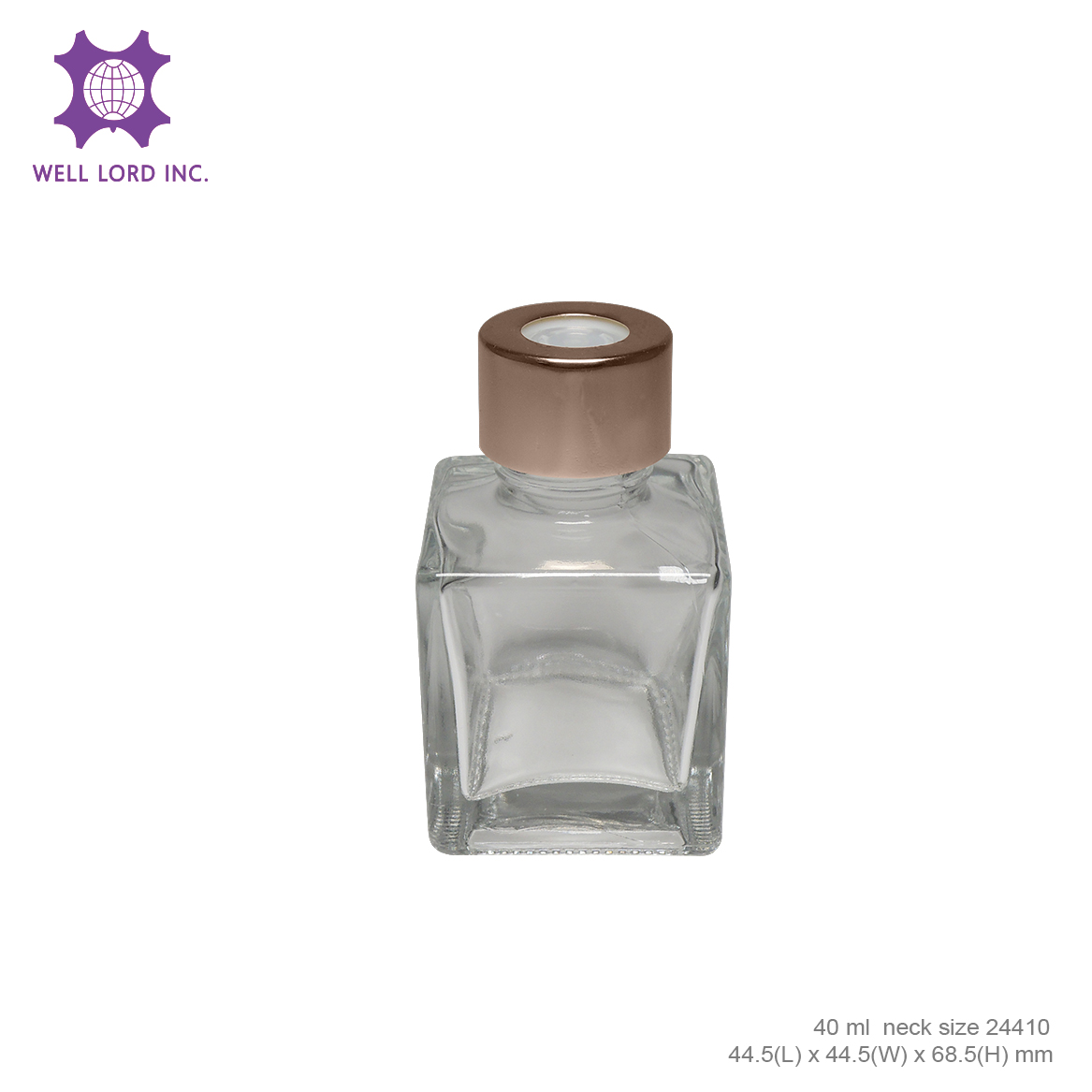 Beach Reed Diffuser oil refill glass bottle cube size 40ml rose gold