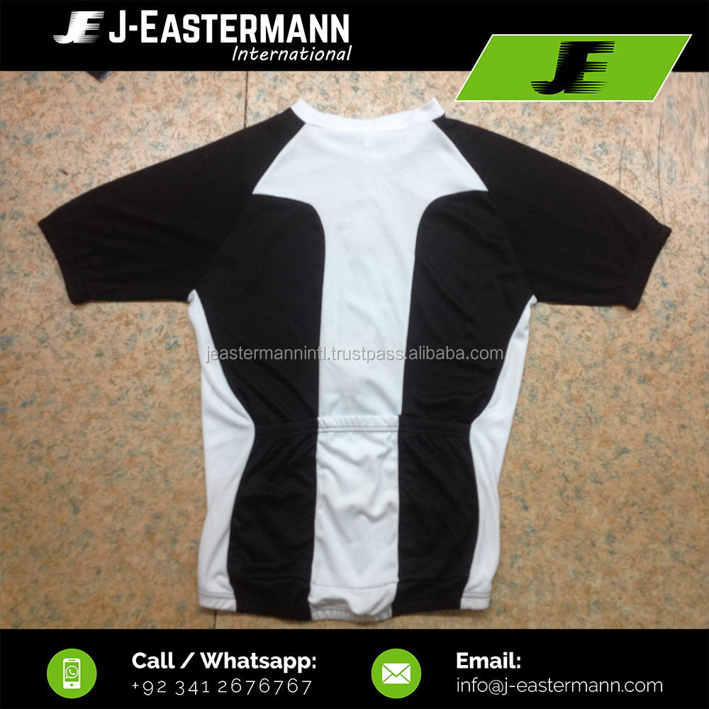 Black and White Two Color Light Weight 100% Polyester Bird Eye Mesh Fabric Short Sleeve Cycling Jersey With Front Zip