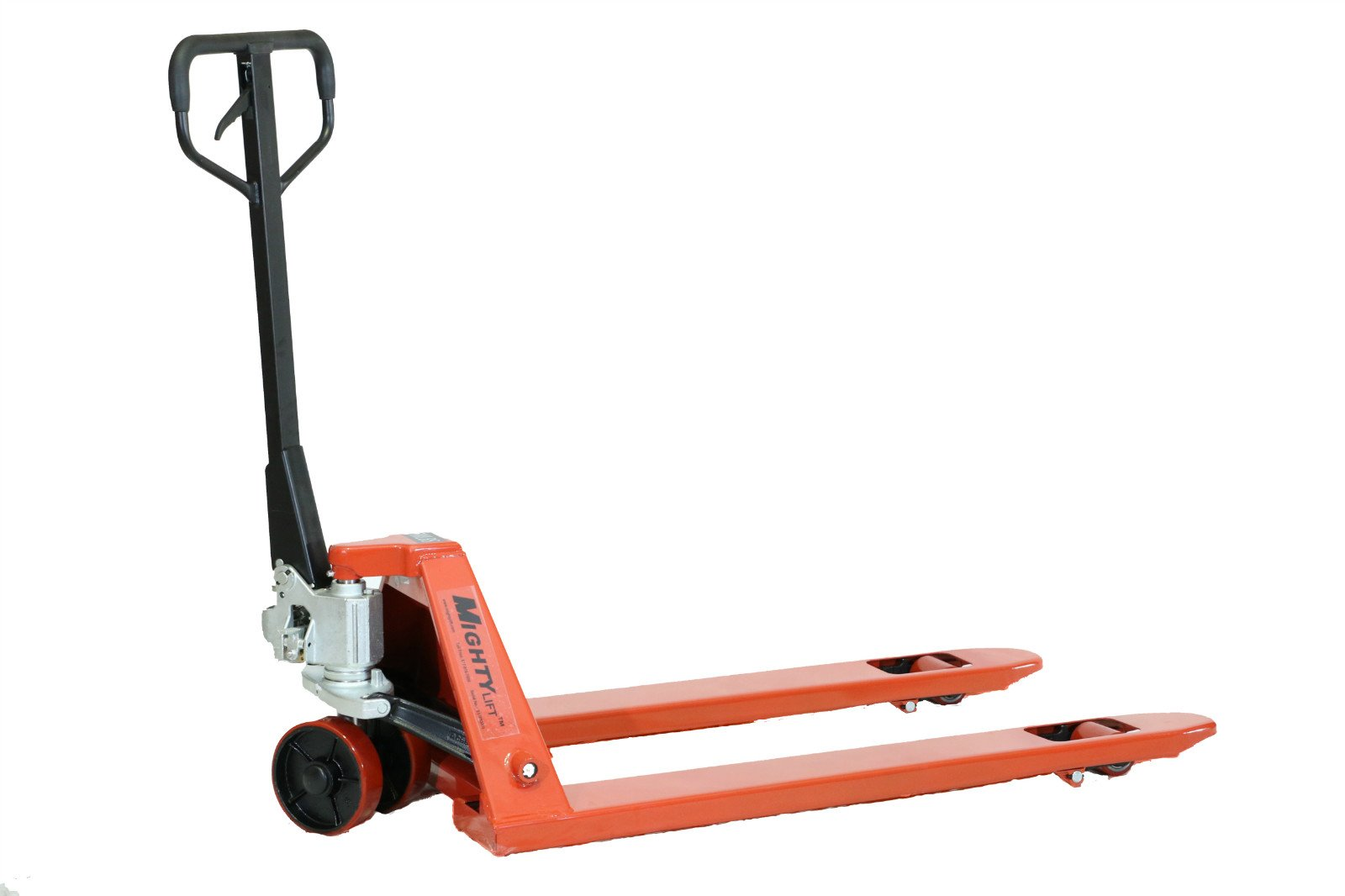"Mighty Lift ML55C Heavy Duty Pallet Jack Truck, Wheels, Polyurethane on Steel, 50"" Height, 27"" Width, 48"" Length, 5500 lb. Load Capacity, Orange"