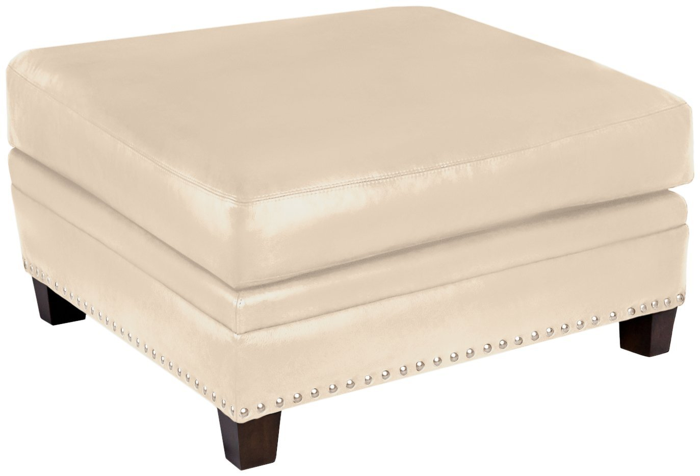Omnia Leather Glendora Cocktail Ottoman in Leather, with Nail Head, Softstations White Winter