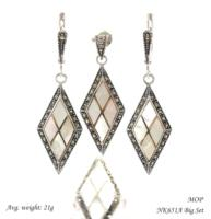 Fashion trapezoid natural stone 925 Sterling silver jewelry set with Swiss marcasite