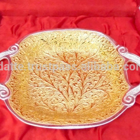 Return Gift Wholesale Price Beautiful Wedding Gift Gold And Silver Plated  Brass Tray - Buy Indian Silver Gift Items,Gift Tray For Wedding,Return