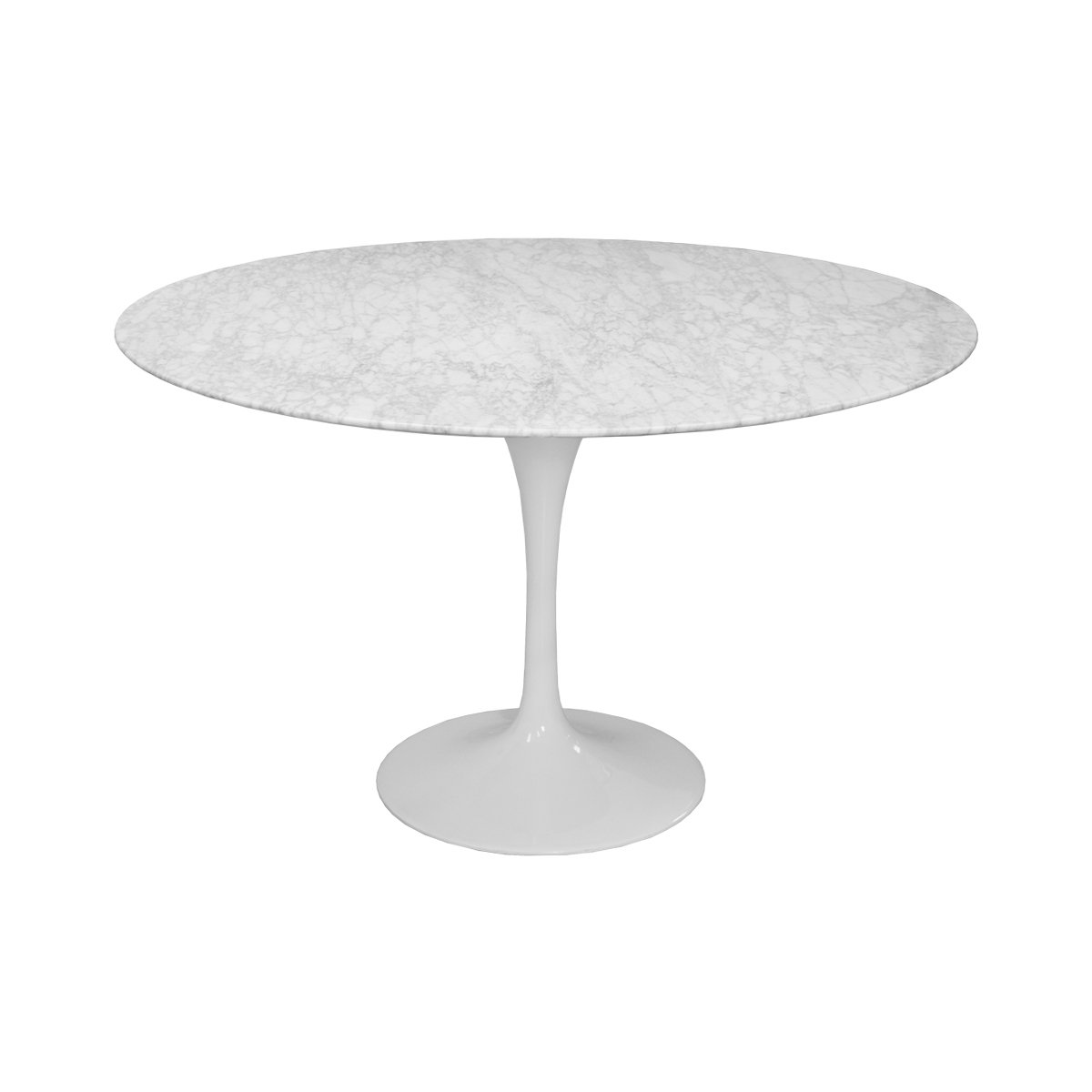 Mod Made Mid Century Modern Lily Natural Marble Round Table Dining Table Meeting Table, 47-Inch, White