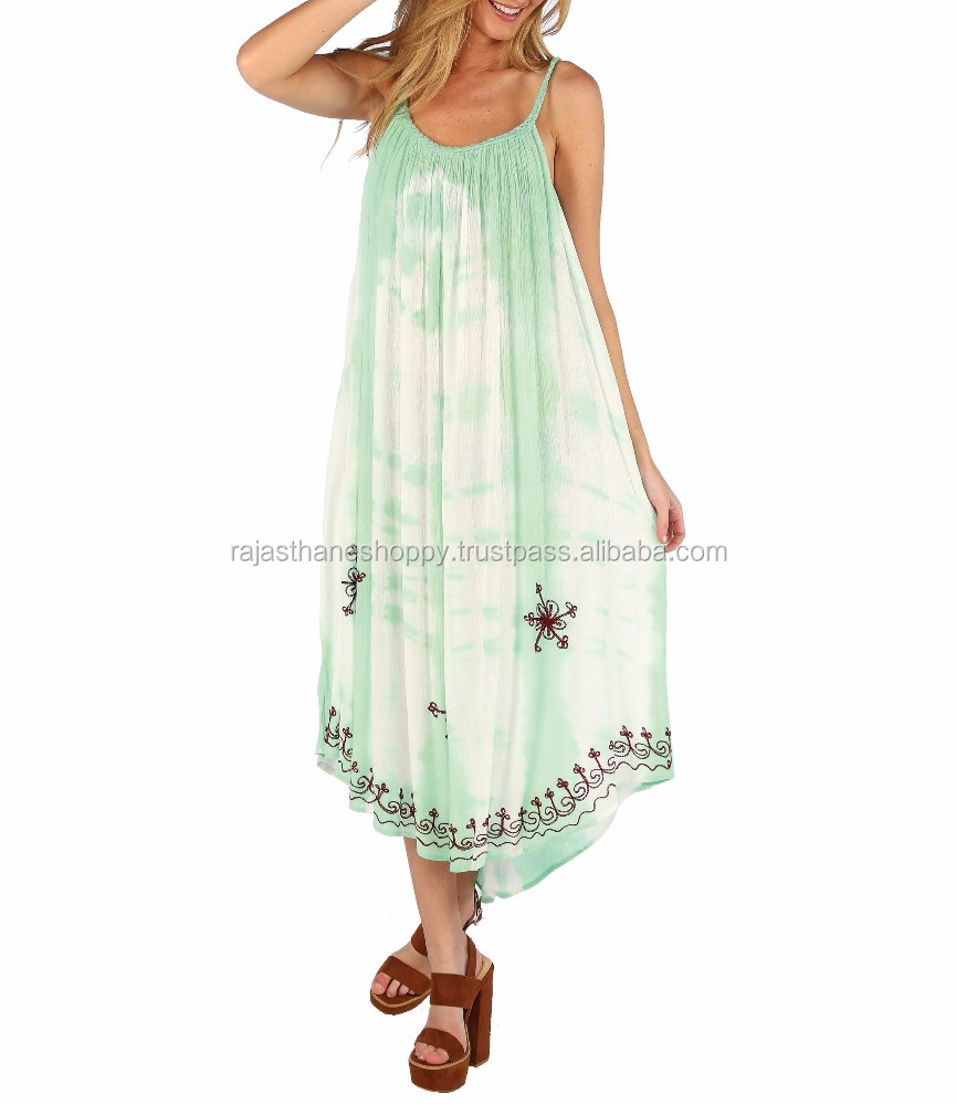 Free Size Beautiful Girl's Wear Rayon Tie & Dye Embroidered Umbrella Dress/Maxi Dress Beach Cover Ups
