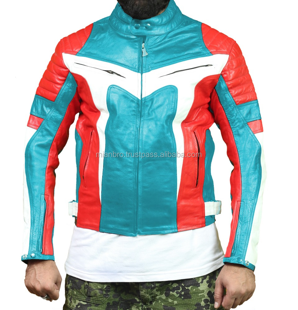 Stylish Mens Biker Racing Leather Jacket, Fashion Leather Motorcycle Race Biker Jackets with Separate Racing Protection Jacket
