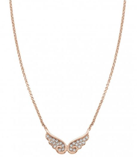 Nomination Double Angel Wings Necklace with Zirconia and 22K Rose Gold plated finish