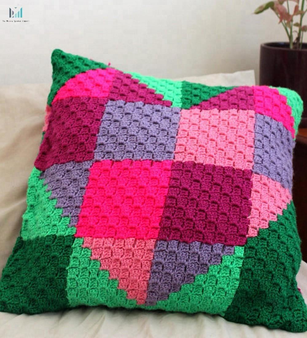 2018 Custom Handmade Crochet Heart Cushion Covercorner To Corner