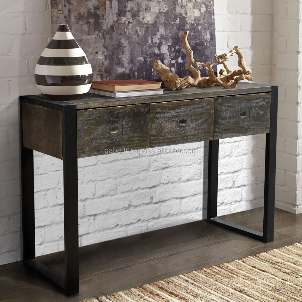 industrial console table with dorwin industrial loft espress