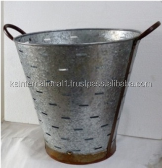 Large Metal Olive Bucket