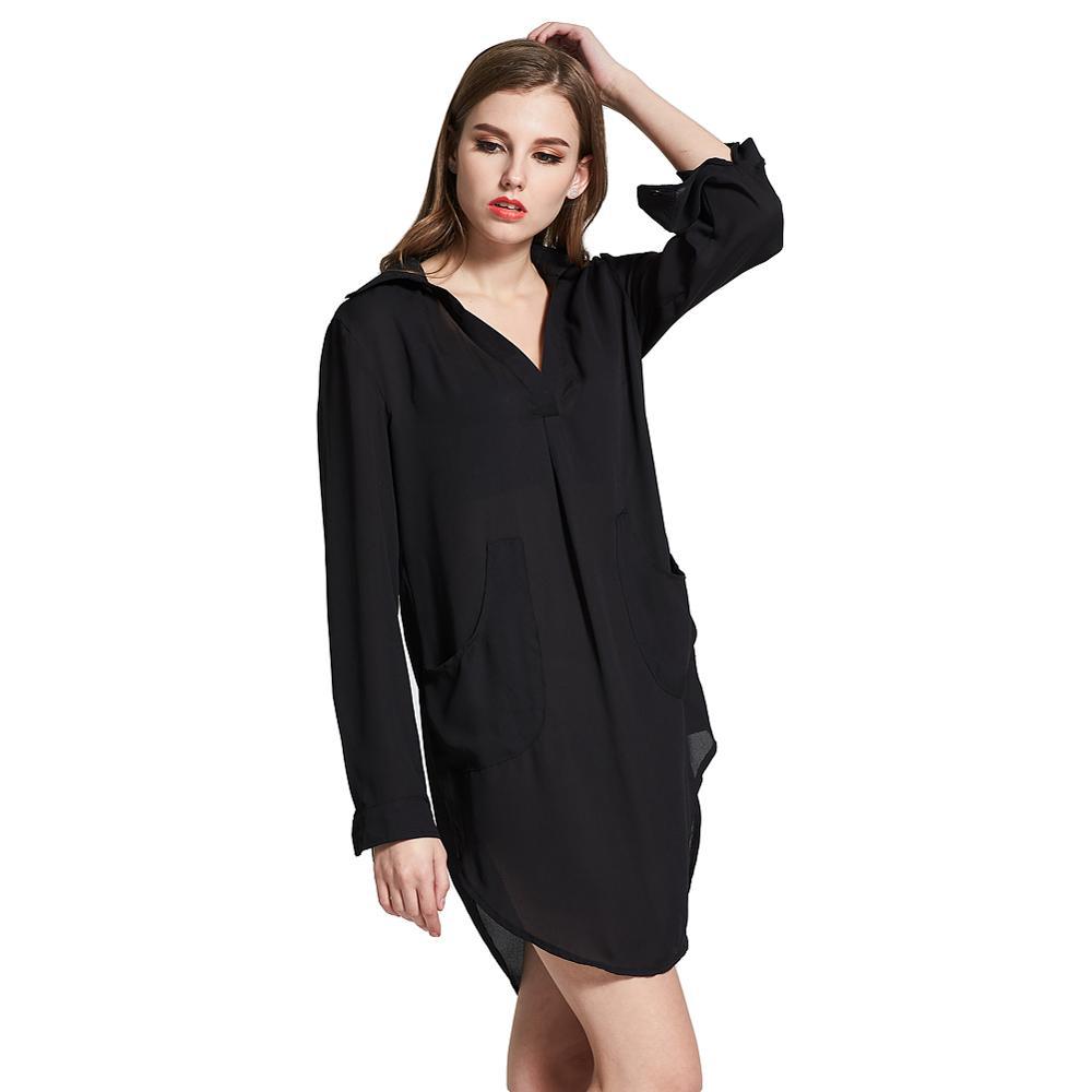 100 Poliéster De Bolsillo Clásico Minimalista Camisa Vestido Negro Casual Mini Longitud Buy Vestido De Camisavestido Casualvestido Negro Product