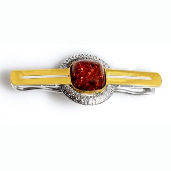 Silver hairpin with black rhodium, gold leaf, amber