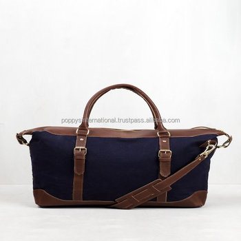 Canvas Overnight Duffle Bag Weekender Travel Sport With Leather Trims Mens Cotton Waxed