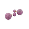 14K Gold Diamond Pink Sapphire Ball Stud Earrings