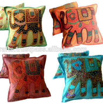 Applique Handcrafted Patchwork Ethnic Indian Elephant Throws Pillow