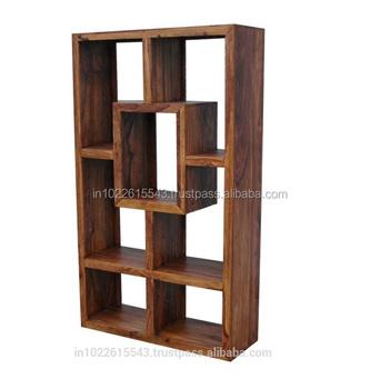 Industrial Solid Acacia Wood Tall Display Cabinet, Modern Solid Wood Display  Cabinet