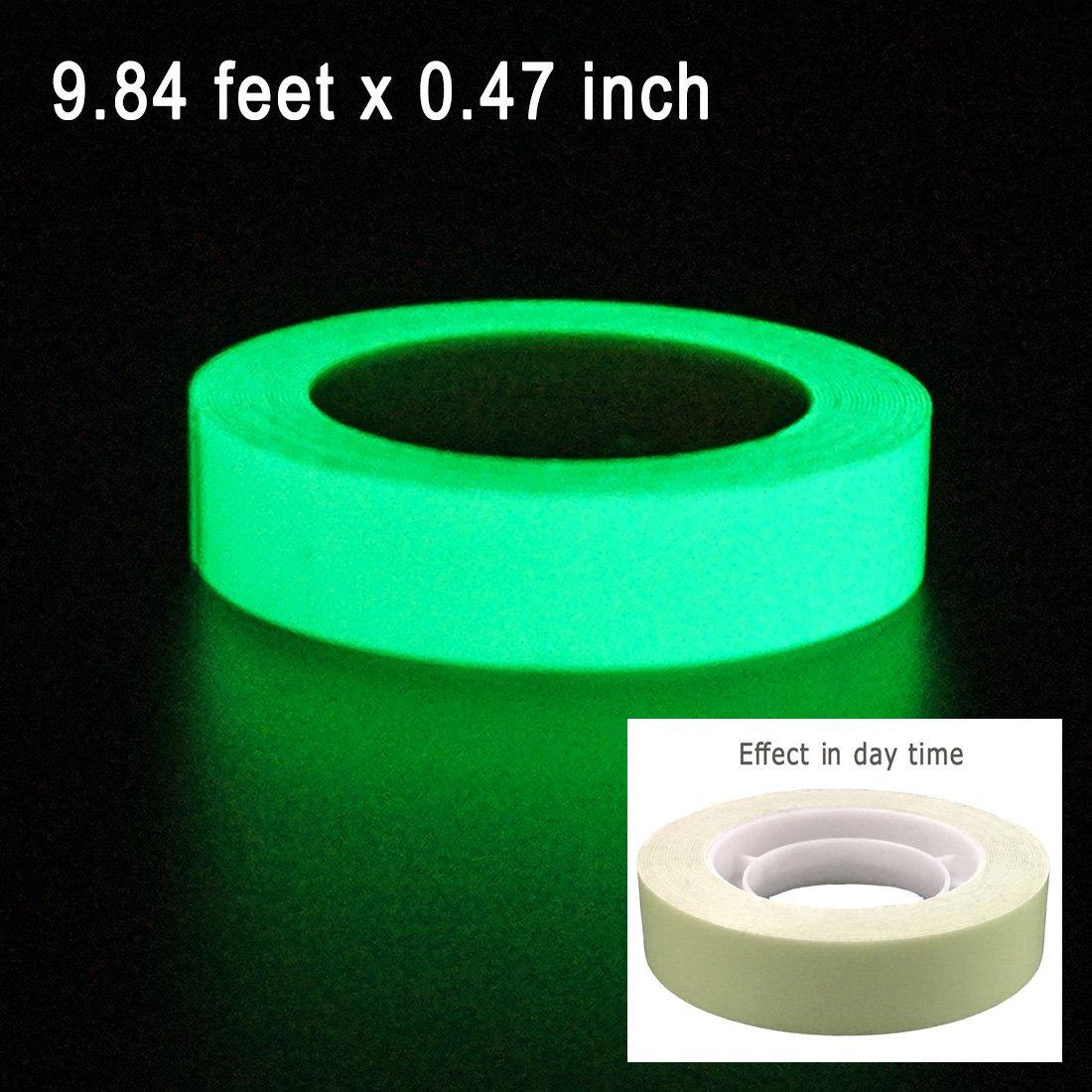"DUOFIRE Luminous Tape Sticker,9.84' Length x 0.47"" Width (1.2cm3m) High Luminance Glow Removable Waterproof Photoluminescent Glow in The Dark Safety Tape (Size-No.5)"