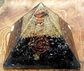 Black Tourmaline Orgone Pyramid With Clear Quartz Pencil Point- Buy Online From Moin Agate