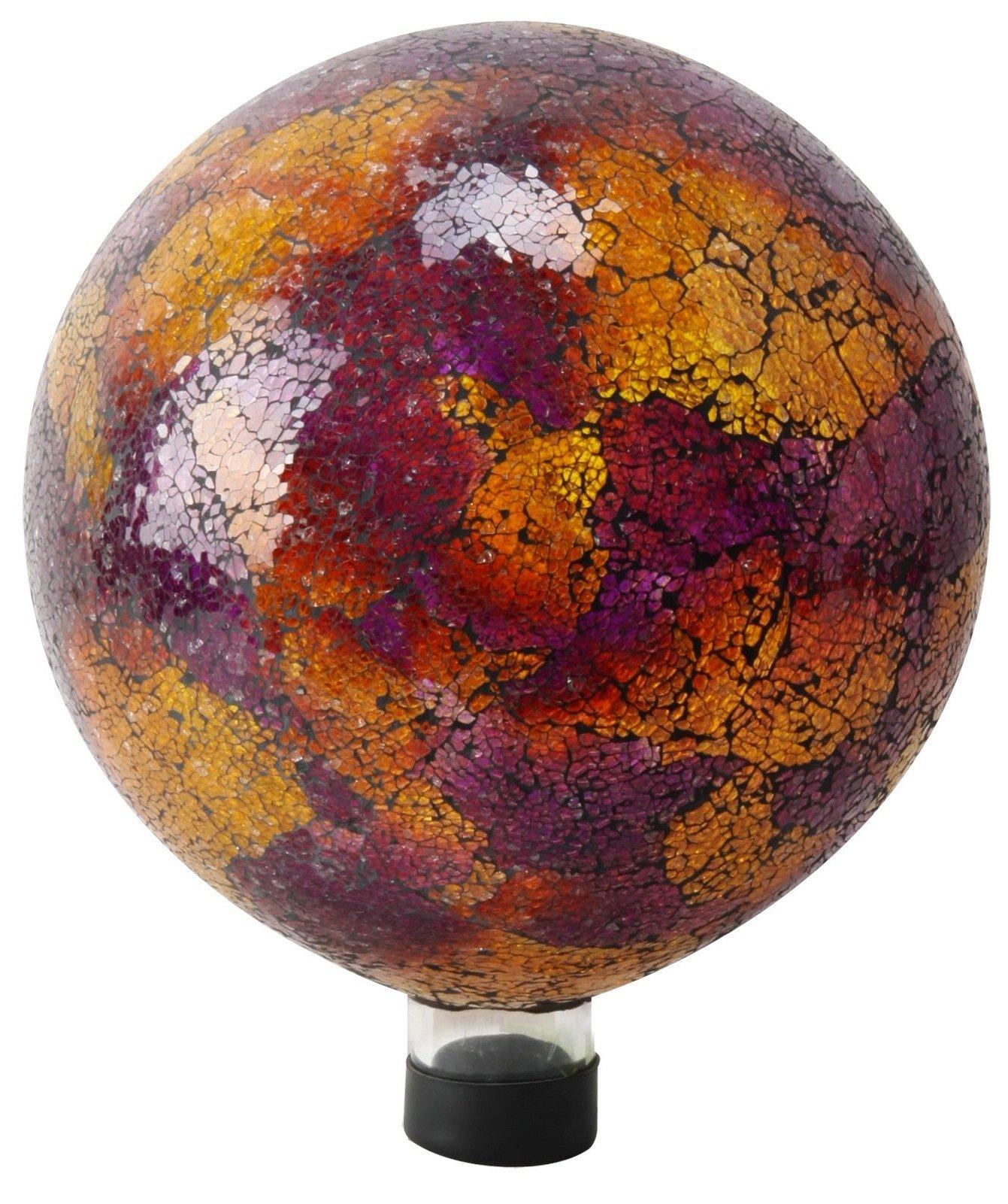 Alpine Mosaic Gazing Globe, 10-Inch, Pink/Yellow with Red