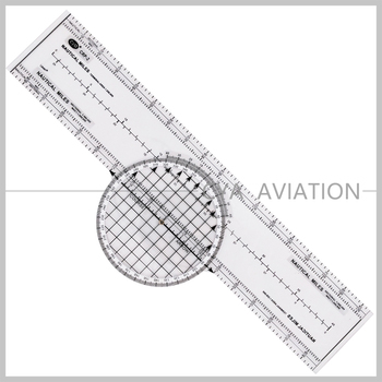 Pilot Student Nautical Miles Clear Lexan Plastic Scale Ruler with Rotating Protractor
