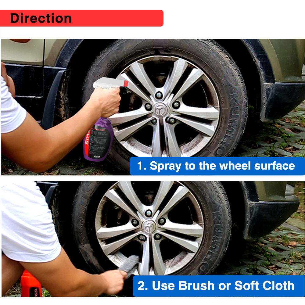 Private Label car detailing kit metal polisher and cleaner spray wheel alloy cleaner gbl liquid