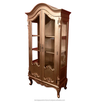 French Furniture Livingroom Showcase Cabinet 2 Glass Door Copper Color    Painted Furniture Indonesia