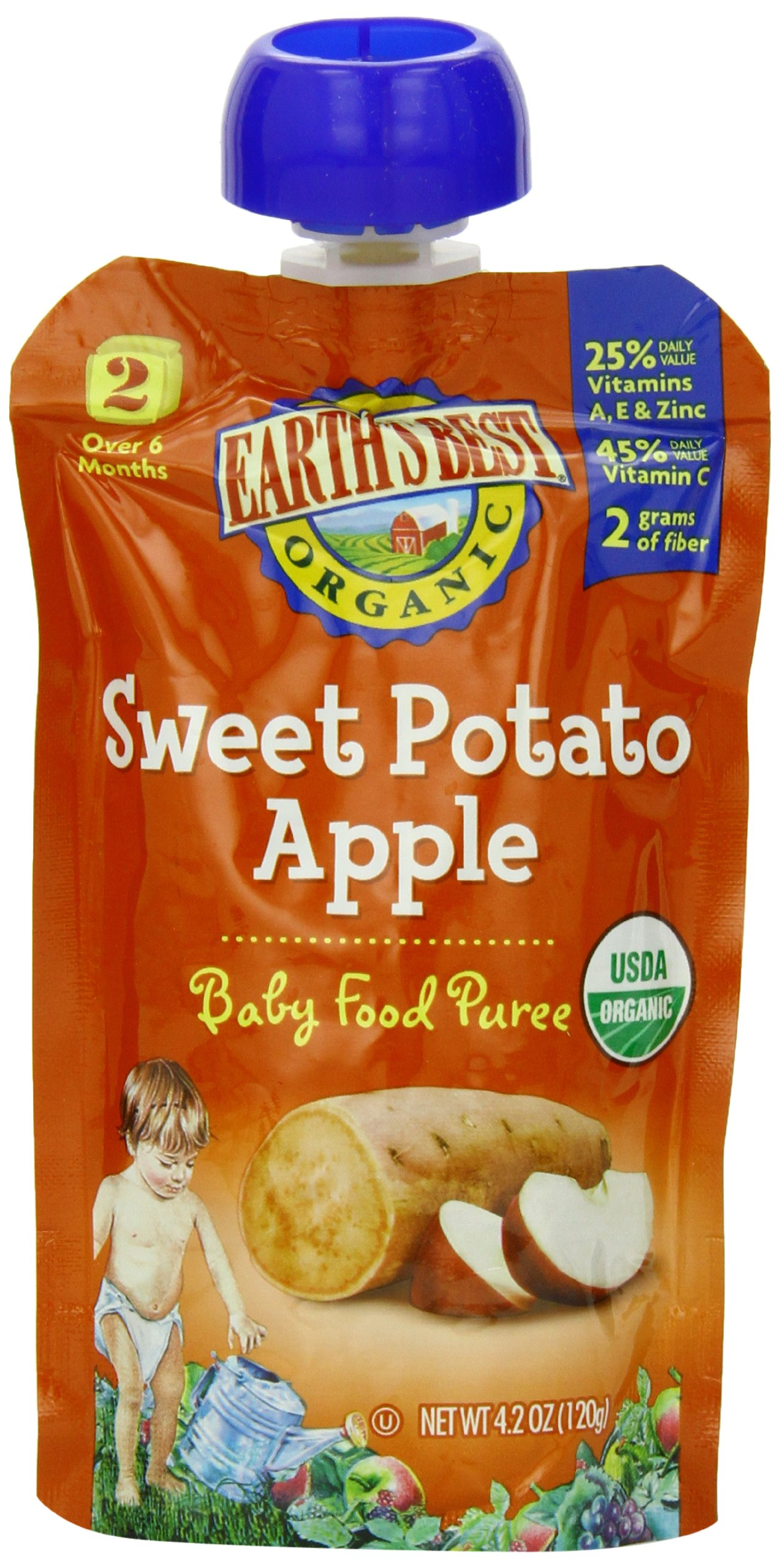 Earth's Best Organic Baby Food Puree, Sweet Potato Apple, 4.2 Ounce (Pack of 12)