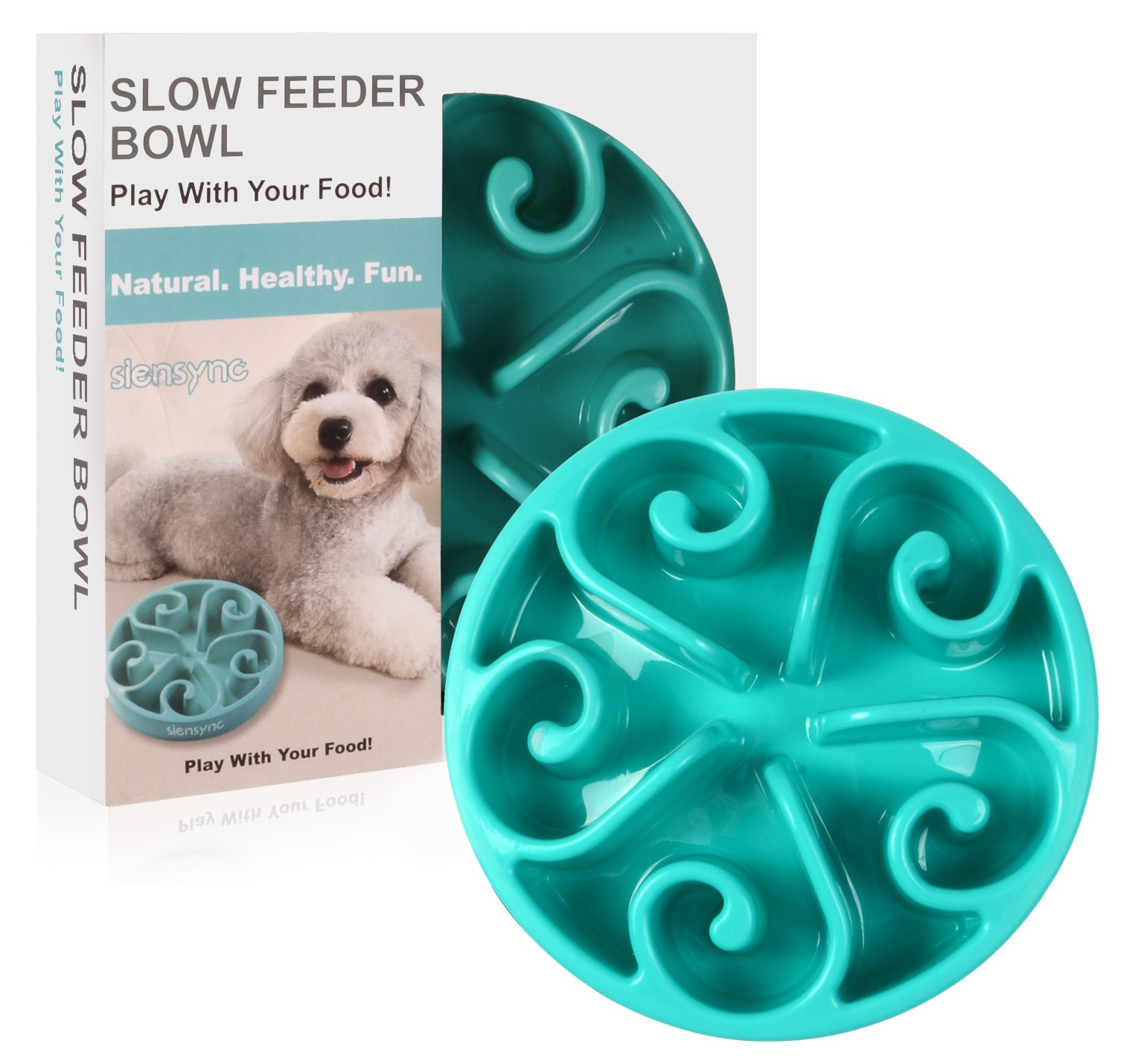 Siensync Slow Feeder Dog Bowl, NON SLIP Puzzle Bowl Fun Feeder Interactive Bloat Stop Dog Bowl, Eco-friendly Non Toxic Bamboo Fiber Slo Slow Feed Dog Bowl for large medium small dogs