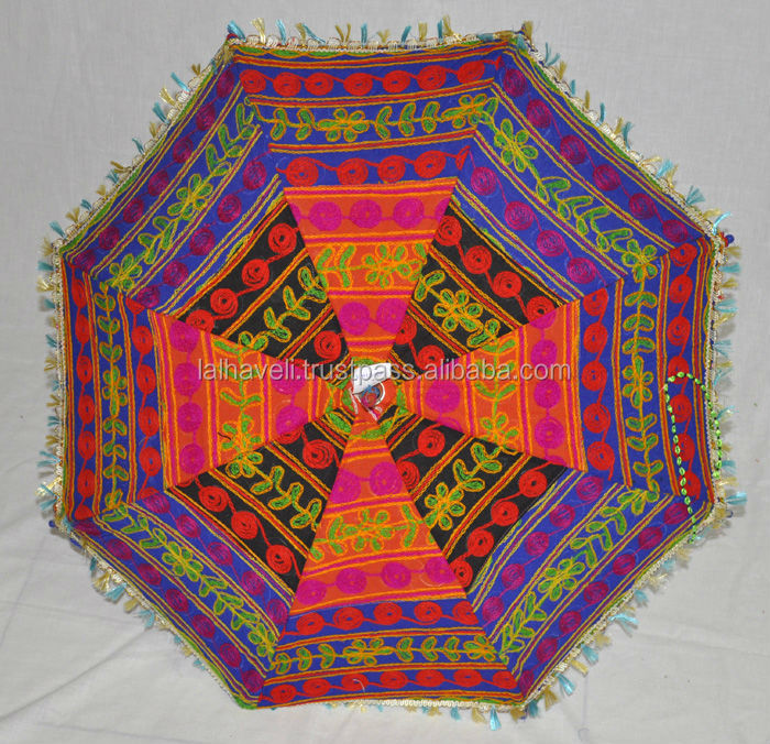 Traditional Embroidered Patchwork Antique Design Colorful Umbrella
