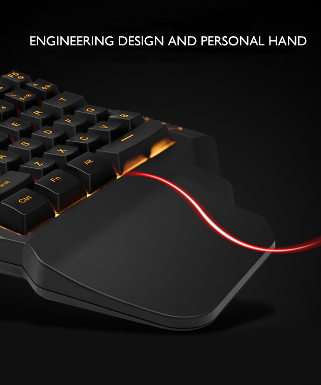Popular 35 keys One-Handed RGB 7 Color LED Light USB Wired Gaming Keyboard For Mobile Phones