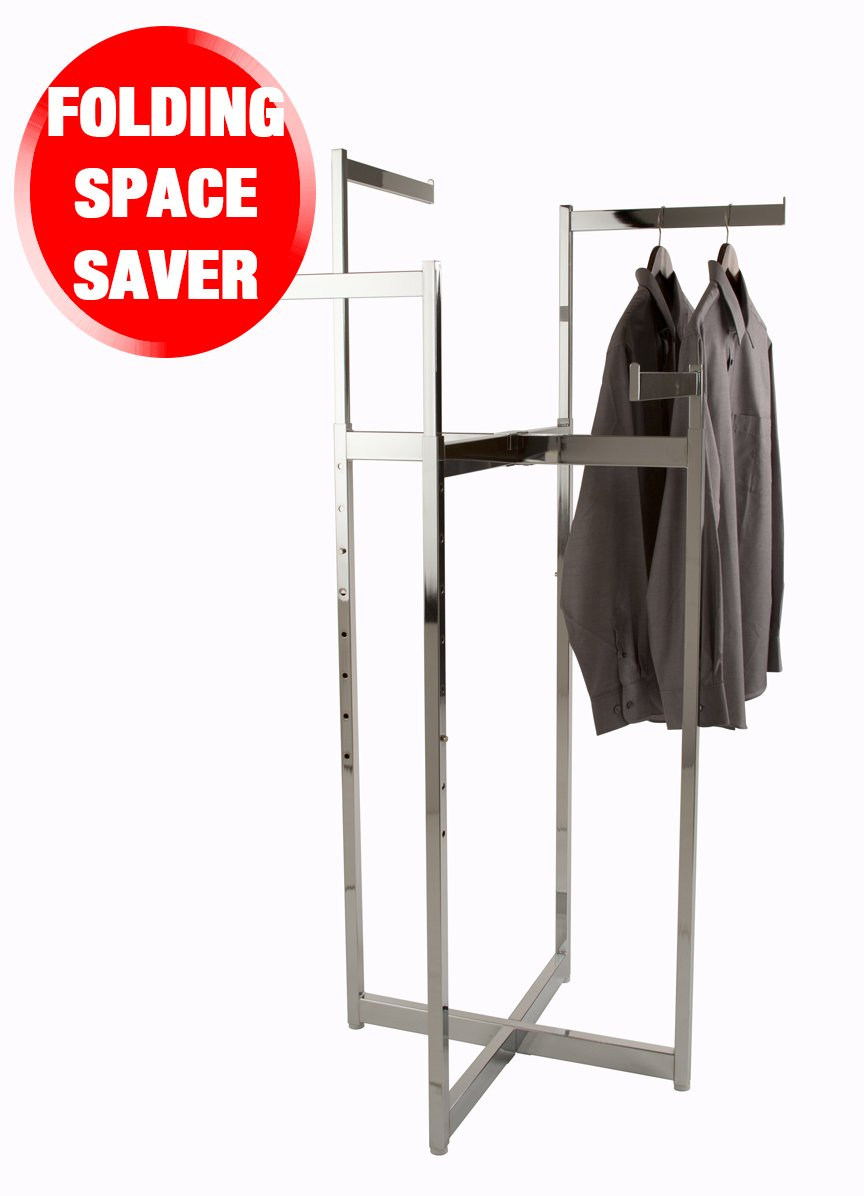 Econoco Clothing Rack – Chrome 4 Way Folding Space Saver Rack, Adjustable Height Arms, Square Tubing, Perfect for Clothing Store Display With 4 Straight Blade Arms
