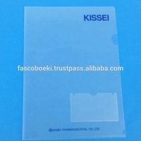 Customized Logo PP plastic clear file folder L shape A4 size with business card pocket
