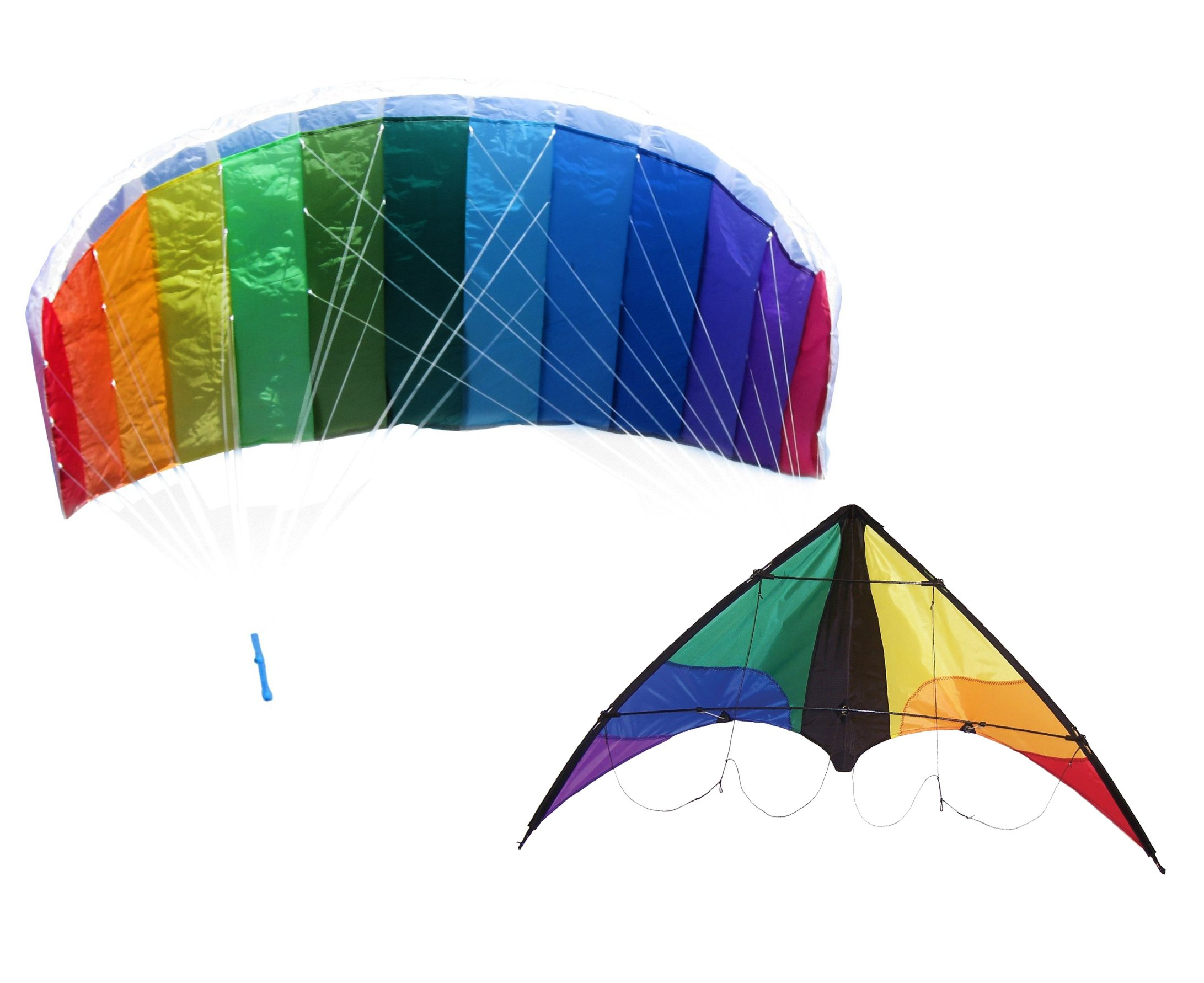 Maven Gifts: In The Breeze 2-Pack Kite Bundle – Colorwave 2-Line Stunt Kite, 48-Inch x 26-Inch with Rainbow Sport Air Foil Kite, 62-Inch x 27-Inch