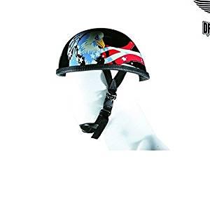 964e7890 Get Quotations · Motorcycle Biker Eagle Flat blk Novelty Non Dot Helmet USA  Flag Eagle graphic (XL Regular