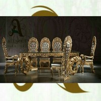 high quality hand carved luxury dining table set with glass top indonesia furniture