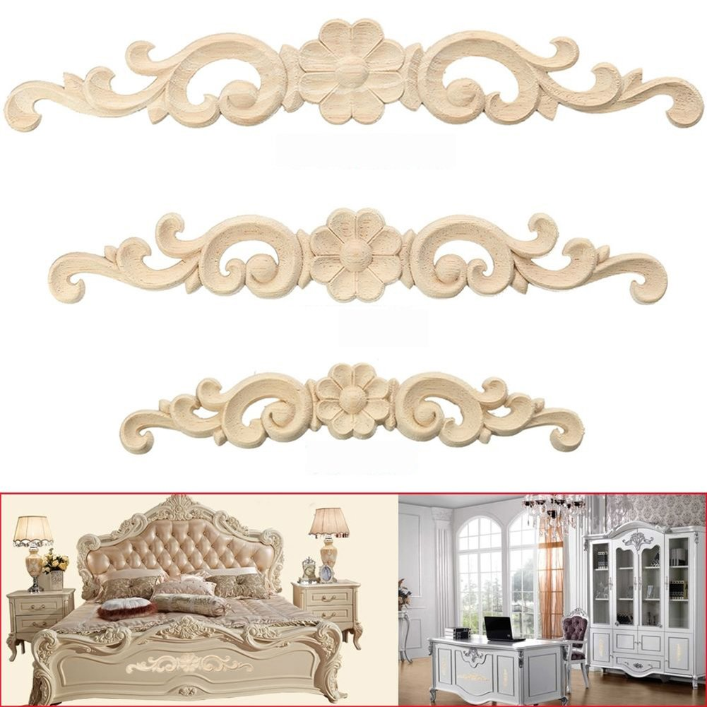 ALCYONEUS Door Furniture Cabinet Decor Wood Carved Corner Onlay Applique European Style