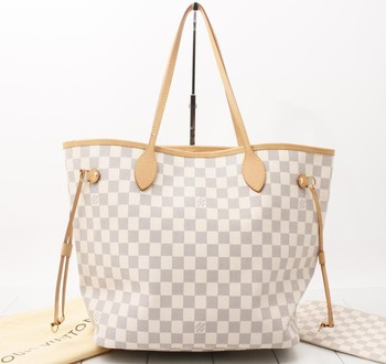2b704c0b3611 Used brand Handbag LOUIS VUITTON M41361 Neverfull MM Damier Azur Shoulder  and Tote bags for bulk