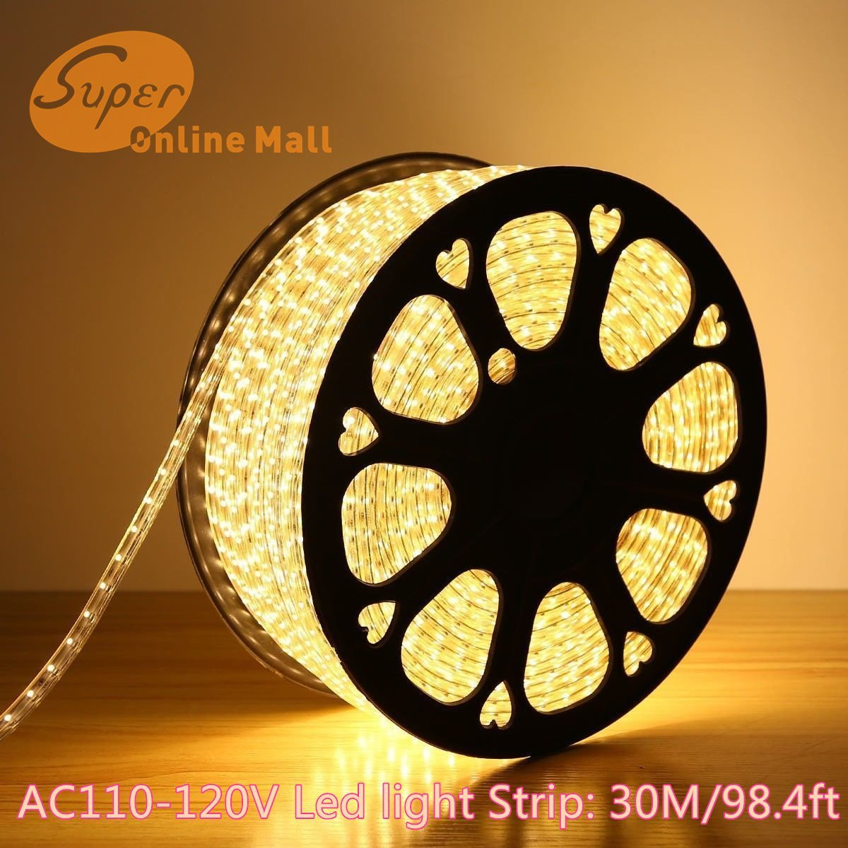 SuperonlineMall AC 110-120V Flexible Waterproof LED Strip Lights, 30m/98.4ft - Warm White