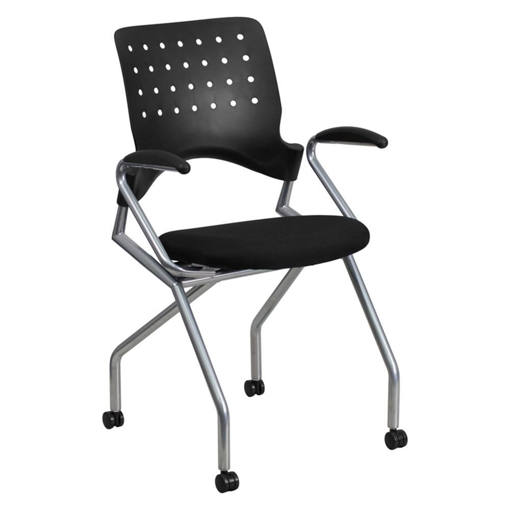 "Galaxy Nesting Chair in Fabric Black Plastic Back/Black Fabric Seat/Silver Metal Frame Dimensions: 21.75""W x 20""D x 36""H Seat Dimensions: 17""Wx16.25""Dx20.5""H Back Dimensions: 15.75""Wx18.50""H"