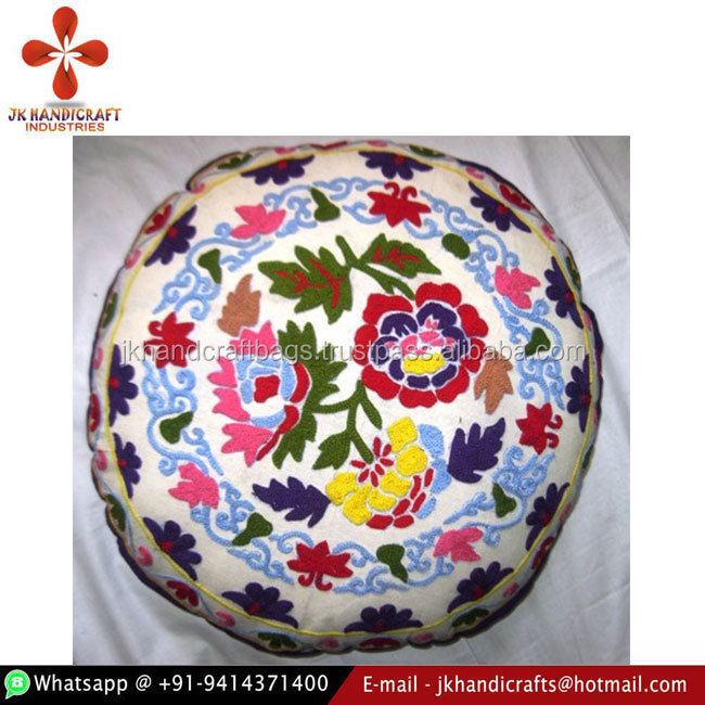 "16 X 16"" Indian Handmade Cotton Fabric Suzani Wool Embroidered Floor Cushion"