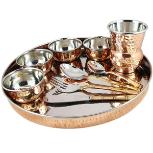 Copper dinner set,Copper Deluxe Thali Set