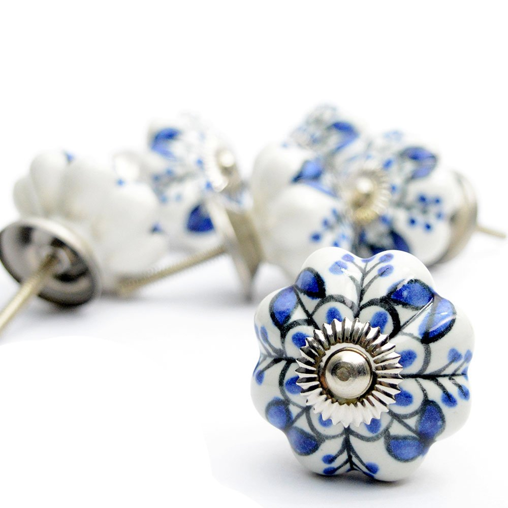 Pack of 6 Ornate Blue Floral Ceramic Knobs For Cabinets & Cupboards
