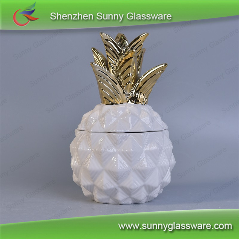 12 OZ Lux white pineapple home decor ceramic candle jars