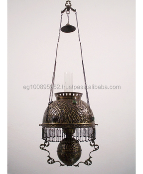 Br201 Antique Style Victorian Era Hanging Library Oil Lamp Lantern Replica Br