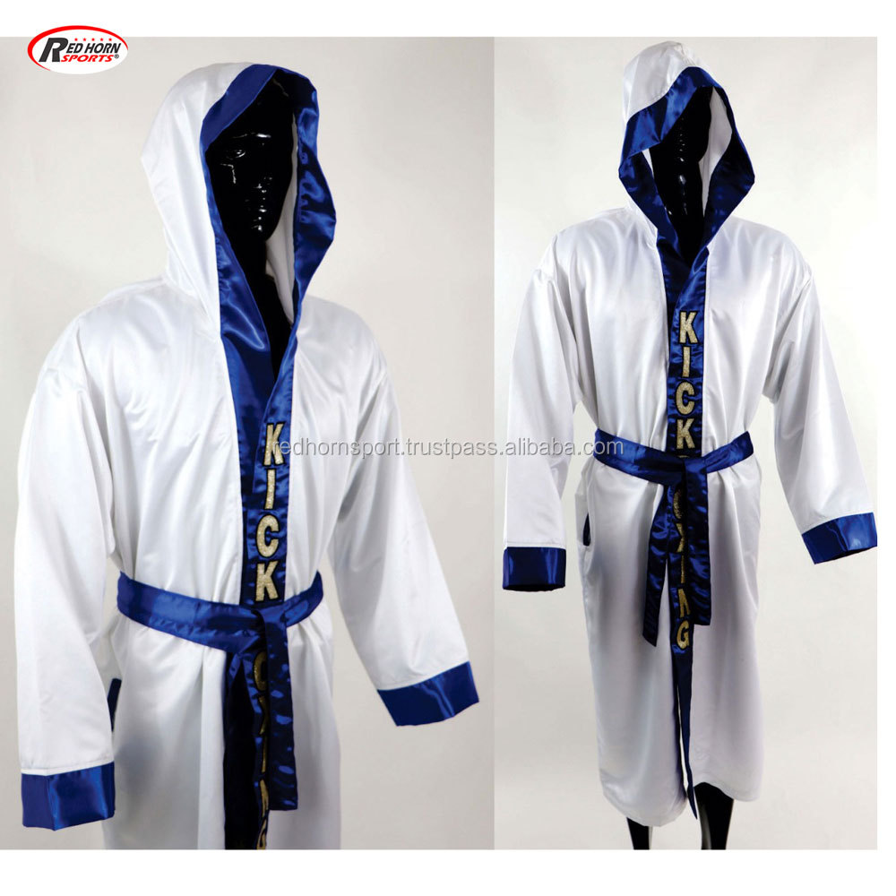 Personalised Boxing Robes: Satin Sports Boxing Robe With Hood,Custom Logo Robes By