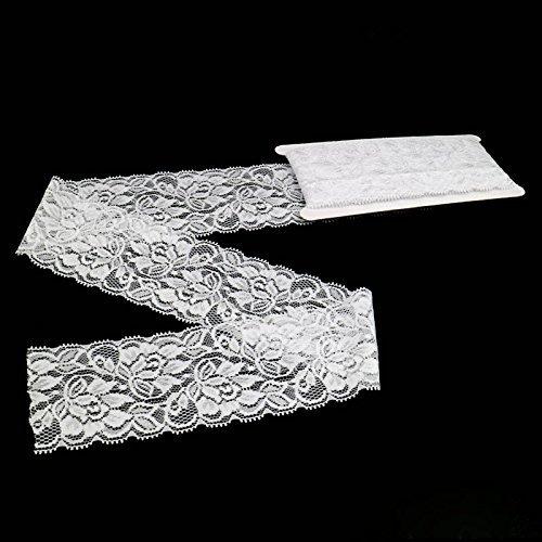 Elastic Lace,6.8CM Width 5 Yards ELASTIC Lace Gorgeous White Vintage Lace Tulle Trims Edge Ribbon Sewing Craft(Elastic Lace)